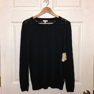 NWT 14Th & Union Black Pointelle Pullover Sweater